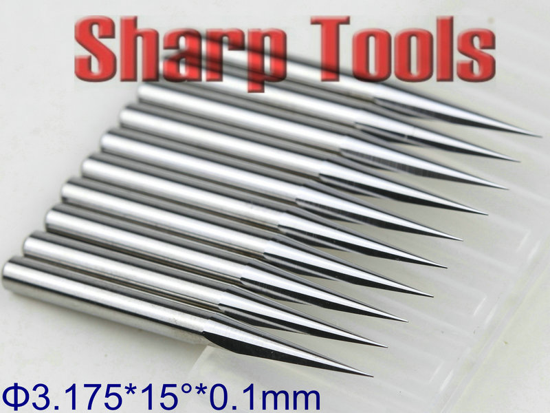 5pcs 15° 0.1mm V-shape Carbide Flat Bottom Engraving Bits For CNC Router Tool