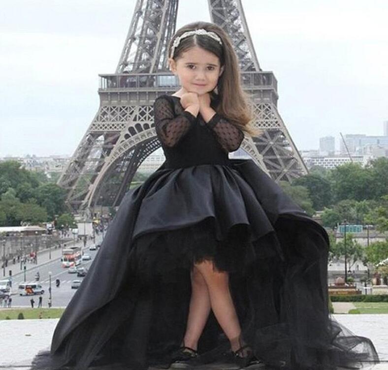 Black Pageant Dresses For Little Girls Long Sleeve Hi Low Flower Girl Dresses Kids Prom Birthday Dresses
