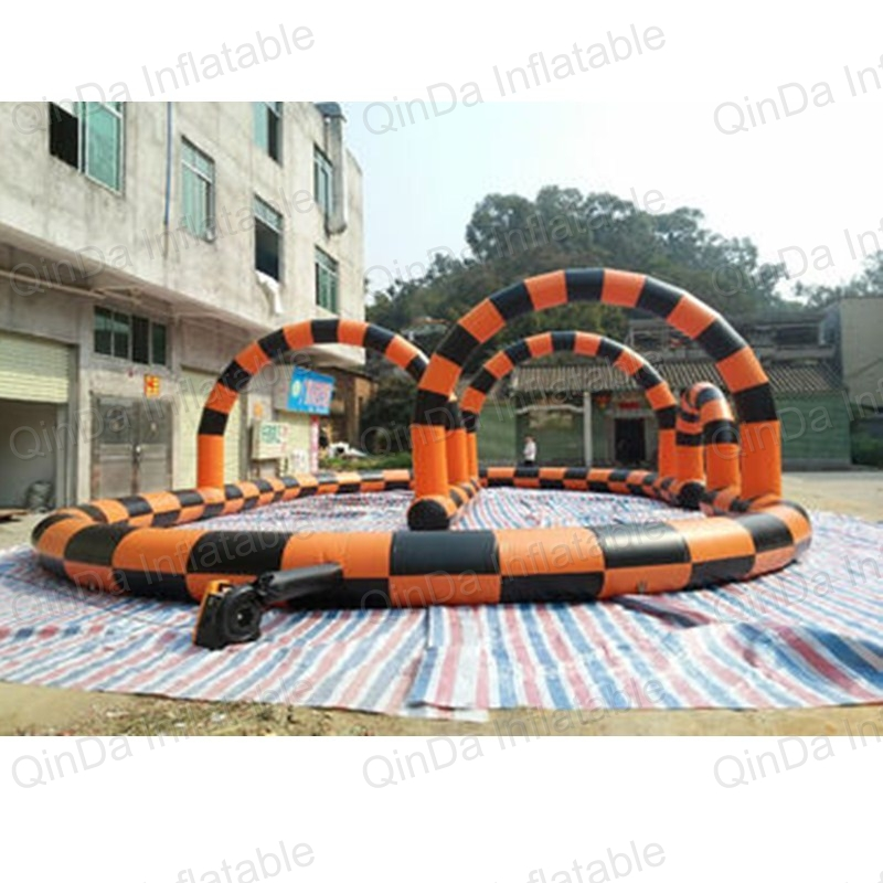 Kids play outdoor sports games go kart race track for balls inflatable race track