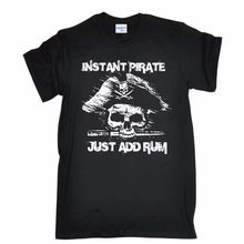 2019 Fashion Short Sleeve Black T Shirt Fitness Clothing Male Tops INSTANT PIRATE ADD RUM pirates booze alcohol T-shirt(China)