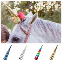 Large Size Unicorn Horn For Horse Photo Prop 2020 Girls Unicorn Birthday Party DIY Glitter Headband Cosplay Hair Accessories(China)