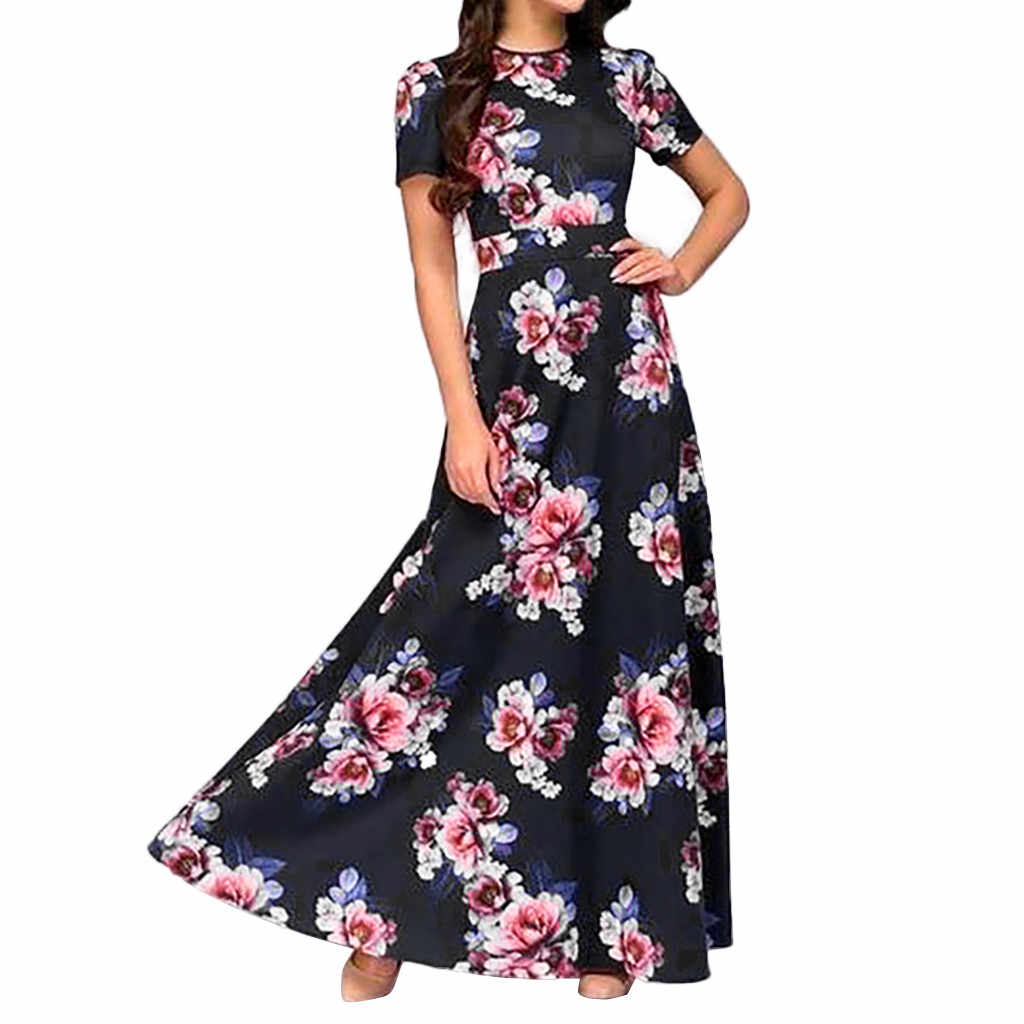 2019 Summer Long Dress Floral Print Dresses Maxi Dress Women Evening Party Sundress Vintage Dress Plus Size XXXL