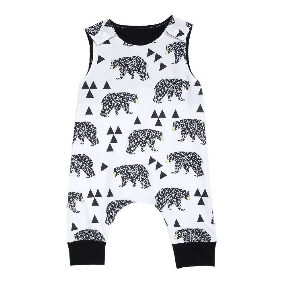 Fashion Baby Romper 2017 Summer Infant Kids Boy Girl Sleeveless Animal Print Romper Jumpsuit Outfit Children Sunsuit Clothes 0-2 2pcs children outfit clothes kids baby girl off shoulder cotton ruffled sleeve tops striped t shirt blue denim jeans sunsuit set