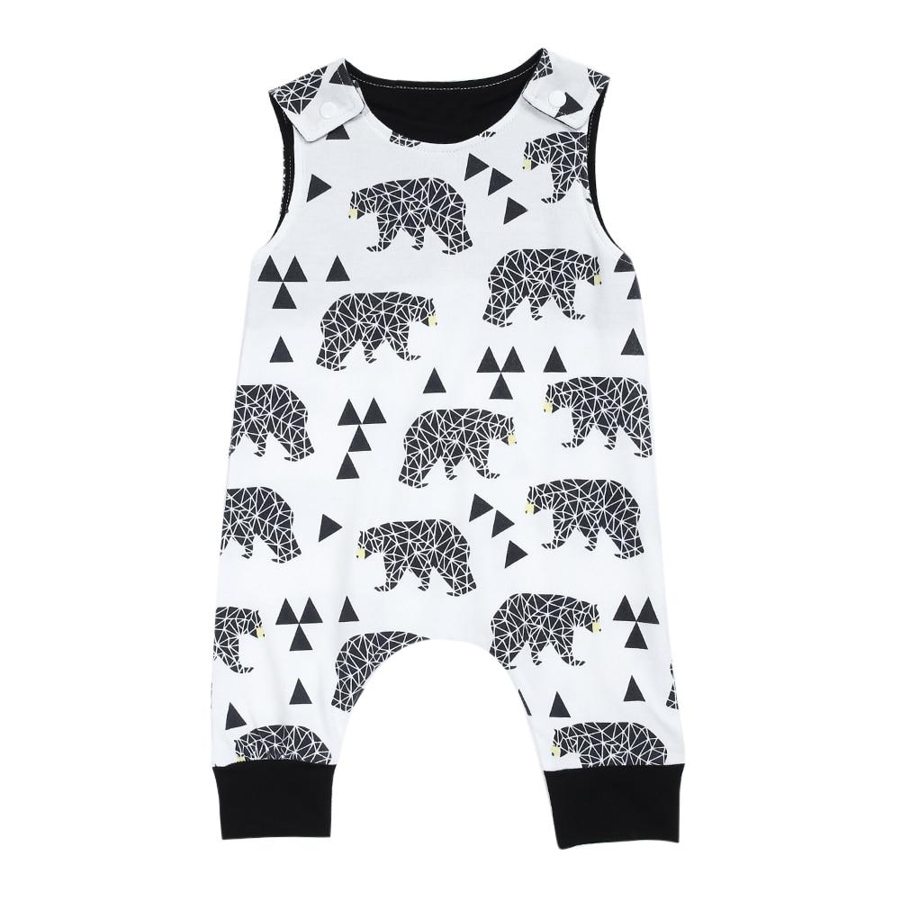 Fashion font b Baby b font Romper 2017 Summer Infant Kids Boy Girl Sleeveless Animal Print