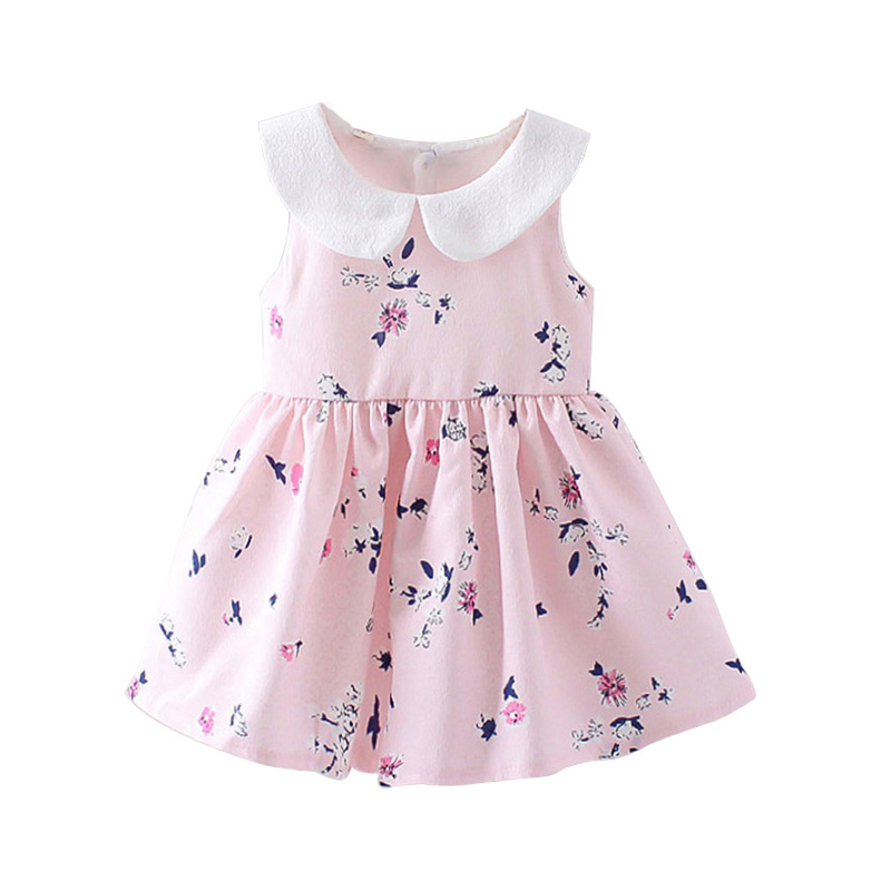 2018 New Baby Girls Dress Summer Floral Princess Party Newborn Dresses Sleeveless Bow Infant Girl Clothing Pink Purple