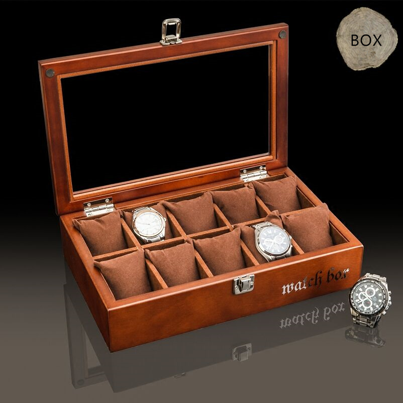 Top 10 Slots Wood Watch Box Fashion Coffee Wooden Watch Storage Boxes With Pillow And Lock Watch Display Gift Case C035 carbon fiber pattern brand watch box black pu leather watch display boxes with lock fashion men s women s storage gift box c032