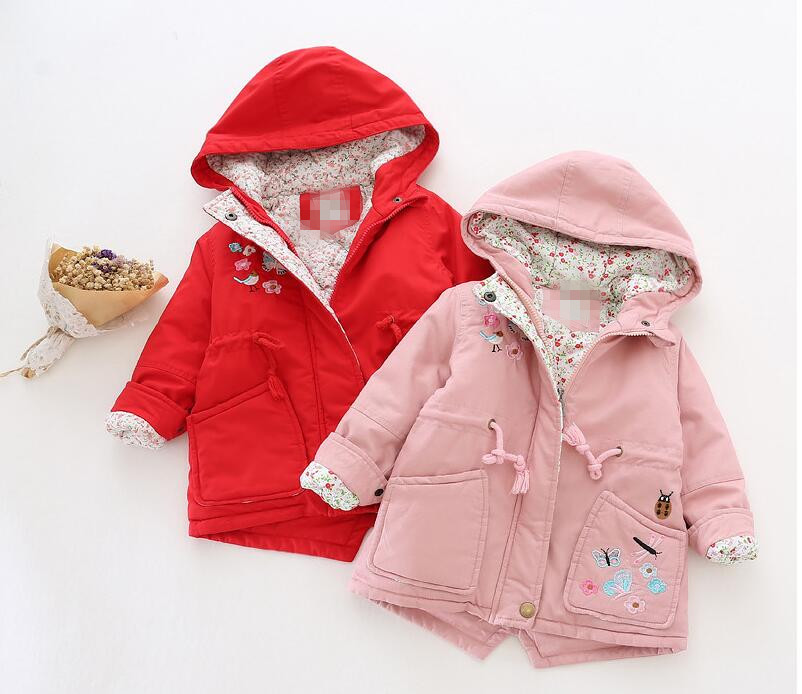 YRP31189066 Retail 2016 Winter Baby Girl Jacket Hooded Butterfly Pocket Toddler Girl Coat Worm Kids Outerwear