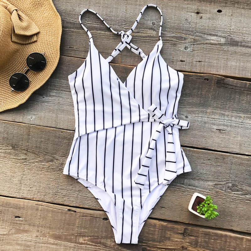 2019 Sexy Swimsuit Women Swimwear One Piece Swimsuit Backless Stripe Swimwear Female Deep V neck Monokini Bathing Suit BeachWear