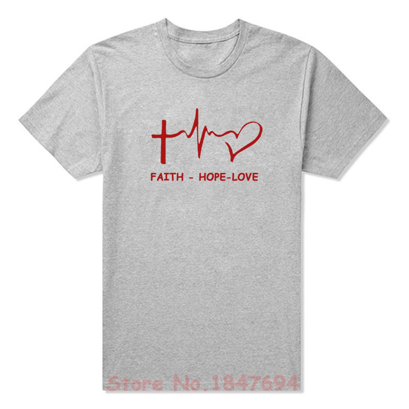 New Summer Style Faith Hope Love Christian T-shirt Funny christianity god tee Gift T Shirt Men Casual Short Sleeve Top Tees
