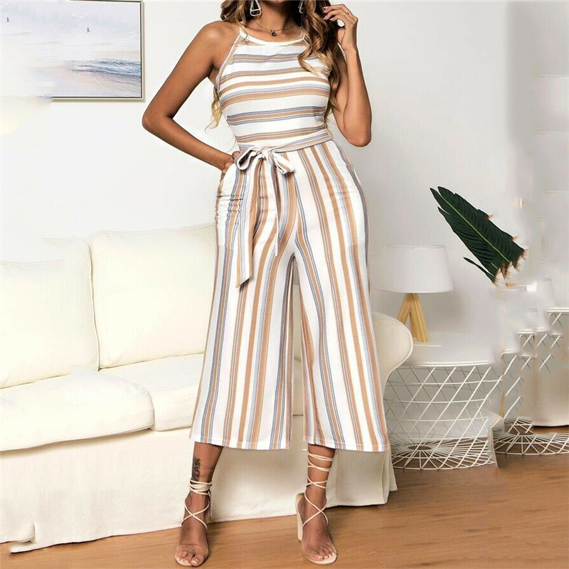 Fashion Women S Summer Striped Jumpsuits Sleeveless New Ladies Clubwear Rompers Straight Wide Leg Jumpsuit Overalss Trousers Hot