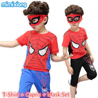 Spiderman Boy Clothing Suits Children S Summer Casual T Shirt Capris Mask Tracksuit Fashion Red Sport