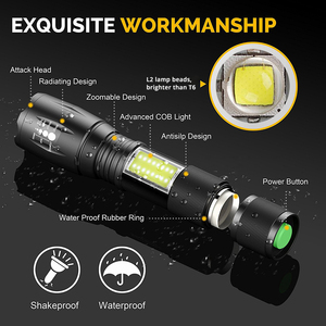 Image 3 - Super bright LED Flashlight With COB Side Light 4 Lighting modes Waterproof LED Torch For camping, adventure,Night Riding