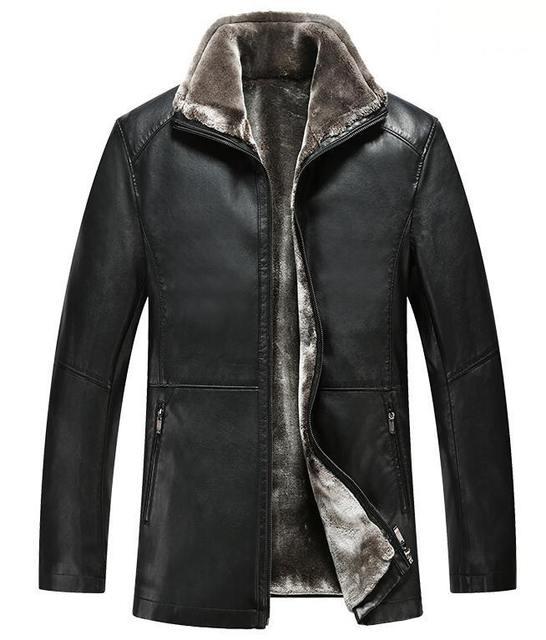 Hot ! 2016 Men Leather Jacket Fashion Brand Of High-Quality Long Section Plus Velvet Warm Winter Jacket Men Casual Coat
