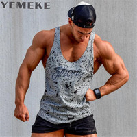 YEMEKE 2017 Tank Tops Sleeveless Vest TOP Undershirt Casual Fitness Mens Casual Print Bodybuilding Red Gray