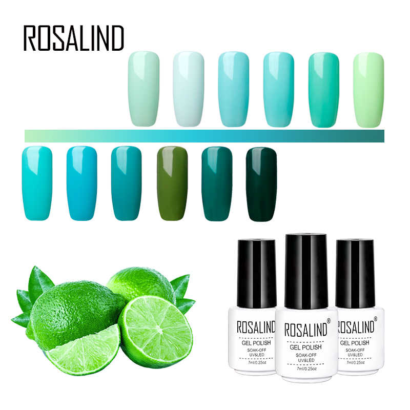 ROSALIND Nail Art Gel Varnish Green Gel Lacuqer UV LED Green Color Primer Top Base Coat UV LED Soak Off Manicure Gel Polish