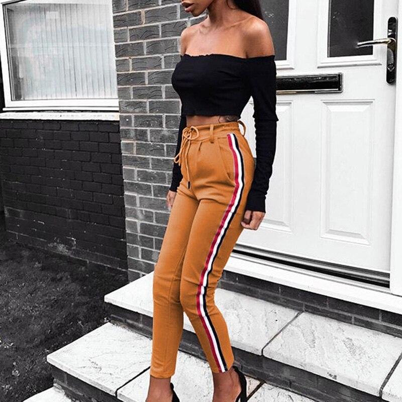 Красный, черный и белый полосатый Для женщин футляр Повседневное узкие брюки стретч Высокая Талия шнуровке тонкий Для женщин брюки