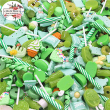 mix design dessert Cartoon Summer green color 100pcs Resin Flat back Cabochon Art Supply Decoration Charm Craft
