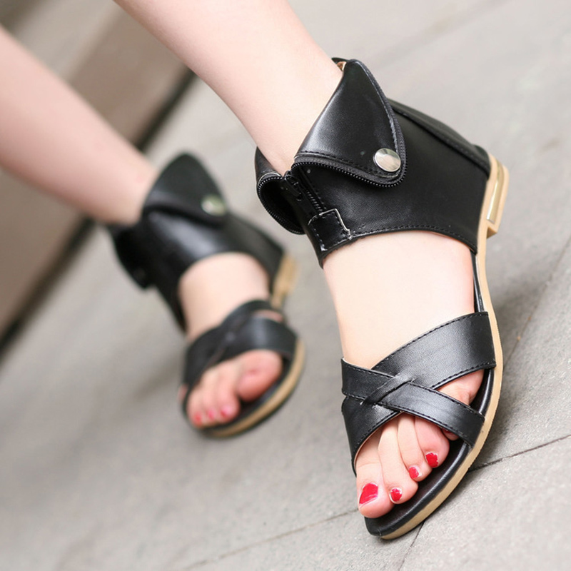Gladiator Sandals Casual Shoes Fish-Head Open-Toe Female Flat Summer New 35-43 Big-Size