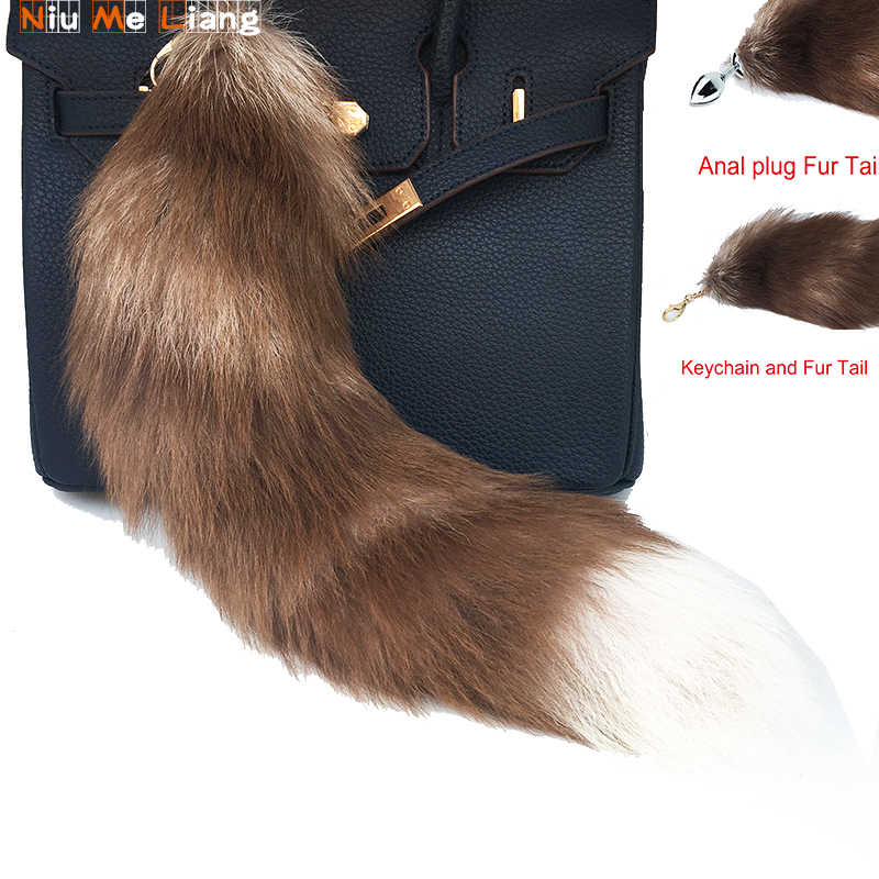 Chaveiros plugue Anal Cauda de Pele De Pele Real De Longo 45 centímetros Red Fox Fur Cauda Tassel Tag acessórios bolsa Charme Chaveiro performance de palco
