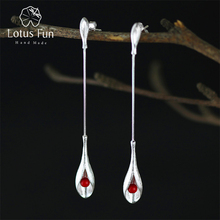 Lotus Plaisir Réel 925 Sterling Argent Pierre Naturelle Main Fine Jewelry Vintage Élégant Long Balancent Boucles D'oreilles pour les Femmes Brincos