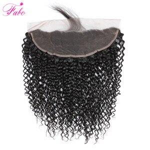 Image 5 - Fabc feixes de tecer cabelo brasileiro kinky encaracolado feixes de cabelo humano com frontal pré arrancado relação média não remy cabelo
