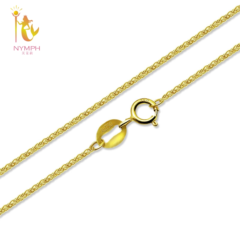 NYMPH Genuine 18K Yellow Gold Chain fine Jewelry Real au750 Necklace Pendant 40cm 45cm 80cm Wendding Party Gift For Women X312 genuine 18k white yellow gold chain 40cm 45cm 1mm thickness au750 cost price necklace wedding party gift for women