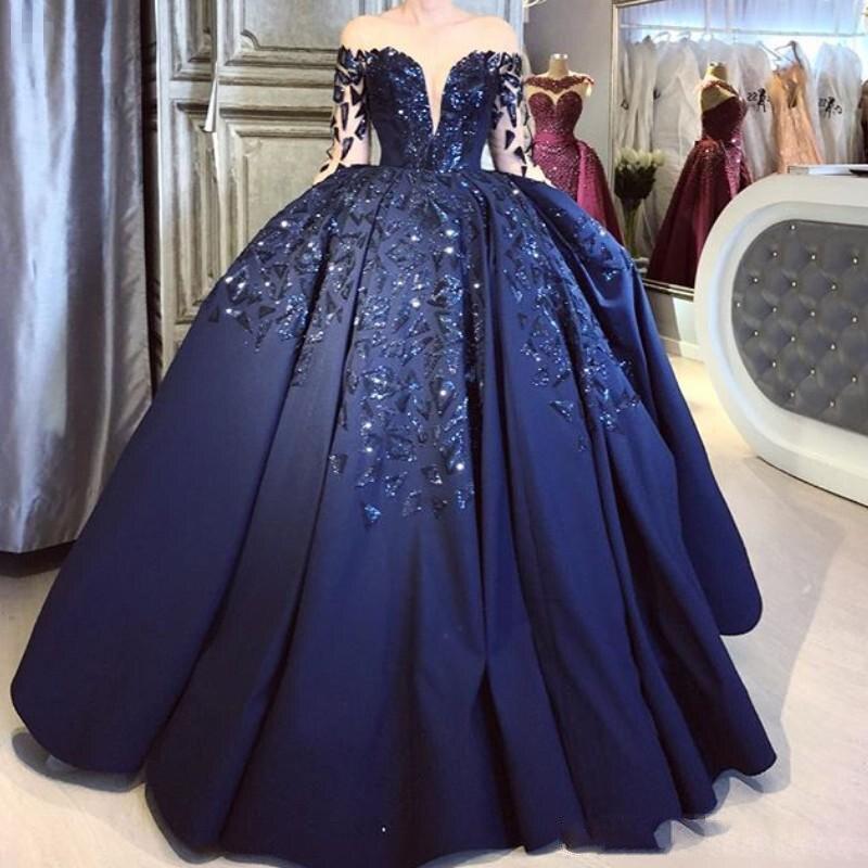 Robe de bal élégante en Satin bleu marine 2019 manches longues transparentes paillettes scintillantes robe de soirée formelle