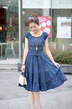 New 2014 Summer Plus Size XXXL XXL Short Sleeve Knee Length Pleated Denim Dress Long Dresses Casual Jeans Dress Free ship B0406