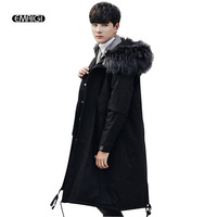 Men Winter Fake Fur Collar Warm Cotton Padded Thick Parka Jacket Male Fashion Casual Loose Hooded