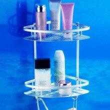 Kostenloser Versand Zwei Schicht Raum Aluminium Handtuch Waschen Dusche Basket Bar Regal Für Bad Rack Hohe Qualität Bad Zubehör
