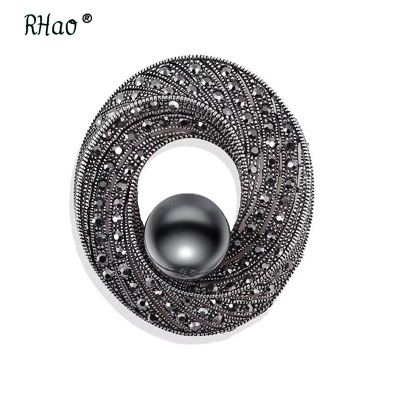 Jewelry Exquisite Imitated gun black Pearl Round Pins and Brooches Vintage Rhinestone Scarf Brooch for Women broach
