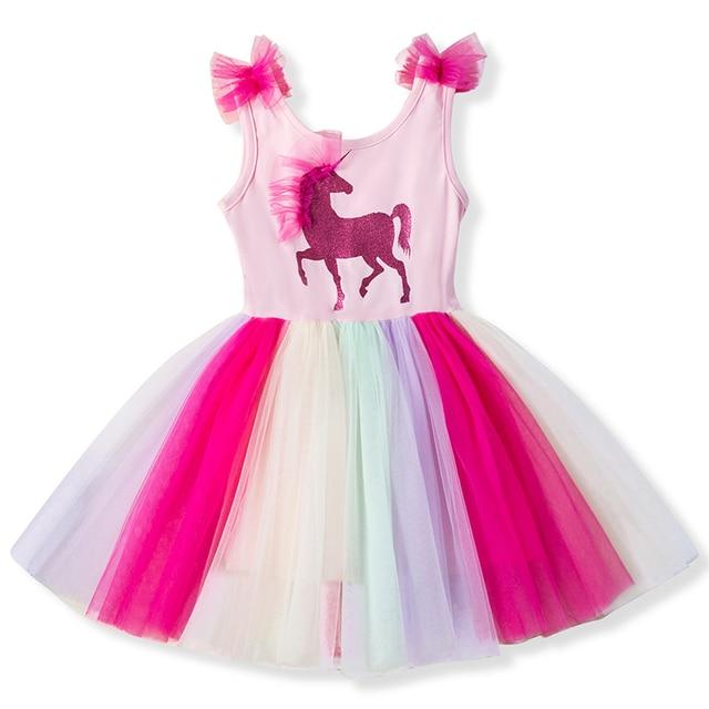 9992c45b4 Fantasy Toddler Girls Unicorn Dress Summer Girl Frocks Baby Girl Rainbow  Tulle Dress Kids Birthday Party Children Clothing 3-8T