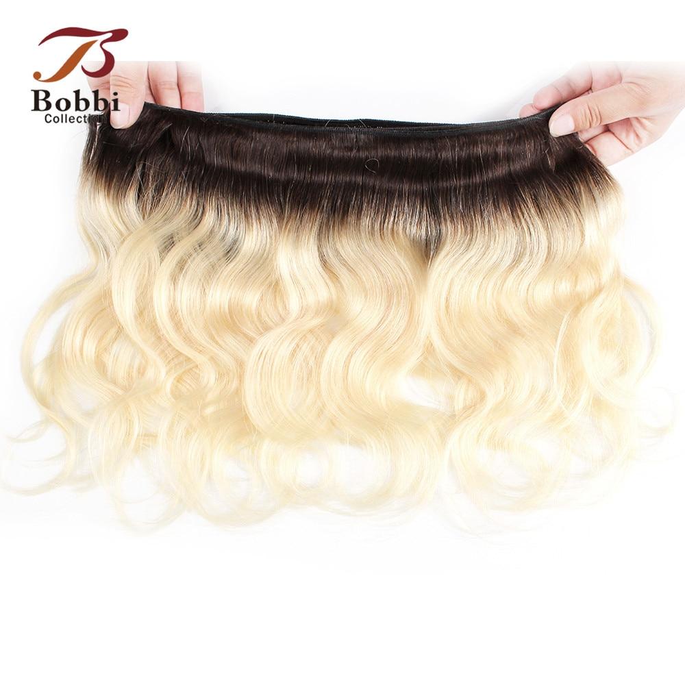 Bobbi Collection 50g/pc 4 Bundles with Closure Body Wave 1B 27 Honey Blonde 613 Platinum Blonde Ombre Non-Remy Human Hair Weave