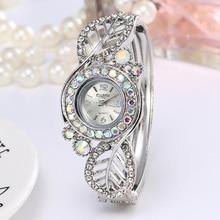 Brand Luxury Bangle Watch Ladies Crystal Flower Leaf Bracelet Women Lovely Gift Dress Quartz Watch Gold Plated Wristwatch
