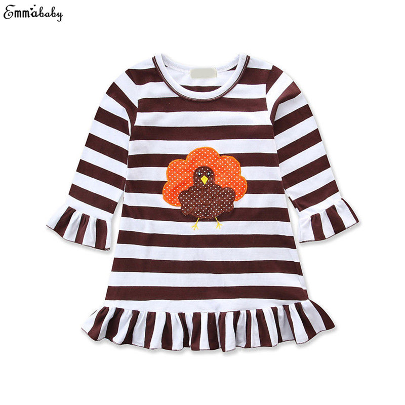 Cute Toddler kids Baby Girls Dress vestidos Christmas Long Sleeve Striped Party Pageant Dresses Fille Jolie Kids Clothing