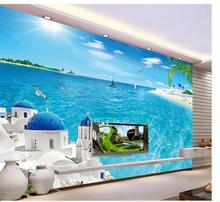 3d wallpaper for room Aegean Sea scenery sea tree beach backdrop mural photo 3d wallpaper living style wallpaper