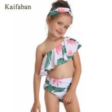 Girls Plaid Off Shoulder Flounces Polka Dot Split Bikini Swimsuit Swimwear Brazilian Plavky Tankini Beach Wear Biquini Bathsuit