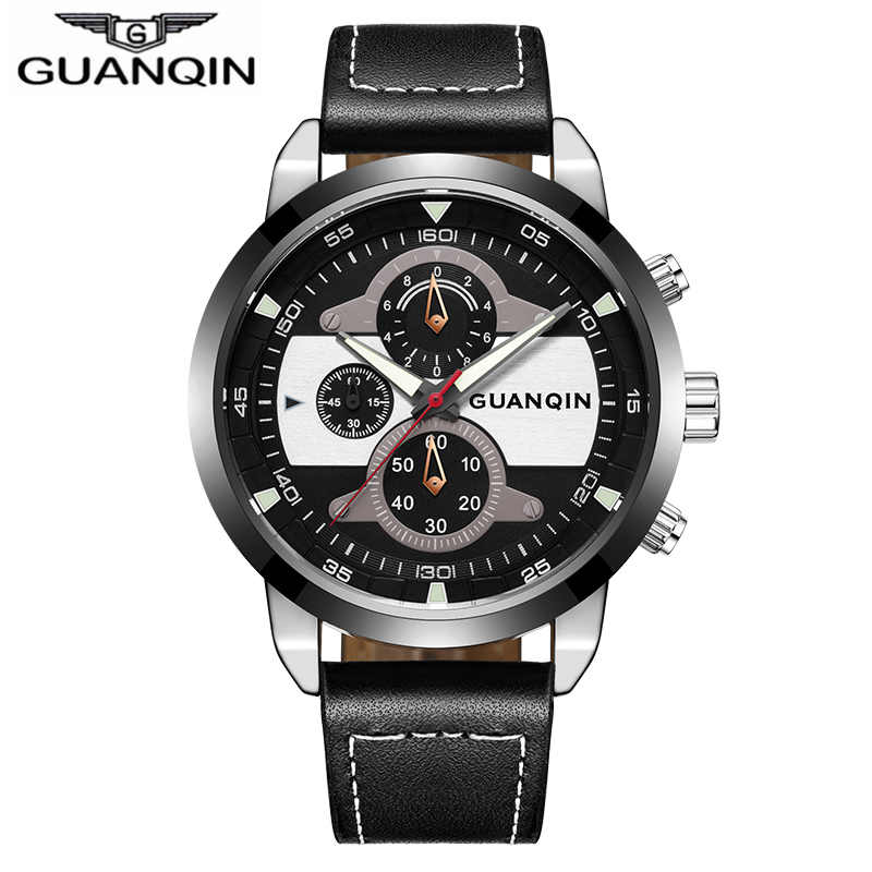 Guanqin New Fashion big dial Watch Men Luxury Top Brand Quartz men's watches Luminous Male Clock waterproof relogio masculino epozz brand new quartz watch for men big dial waterproof stainless steel watches classic casual top fashion luxury clock 1602