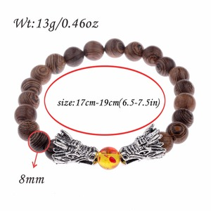 Image 3 - Bransoletka z koralików drewnianych s medytacja złoty i srebrny kolor bransoletka z koralików smoka kobiety biżuteria modlitewna joga Dropshipping