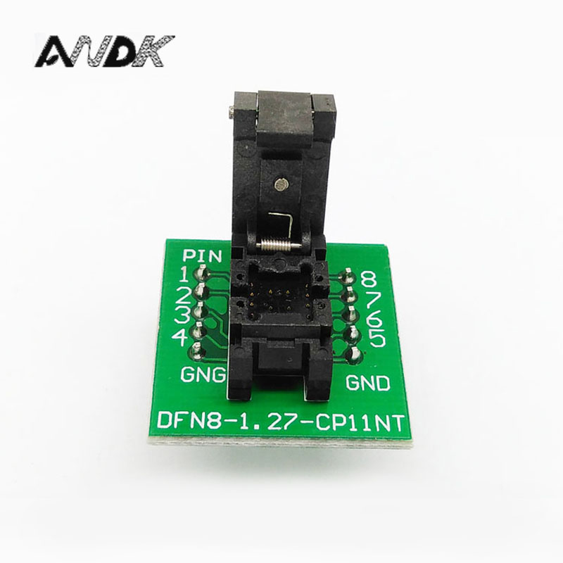QFN8 DFN8 WSON8 Programming Socket Pogo Pin IC Test Adapter QFN8-1.27-CPO1PNL Pitch 1.27mm Clamshell Size 5*6 Burn in Socket amh qfn8 aaq adc max8792e qfn12