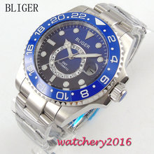 лучшая цена 43mm Bliger black blue Dial Ceramic bezel Date Adjust Deployment GMT Sapphire Glass Luminous Hands Automatic Movement Mens Watch