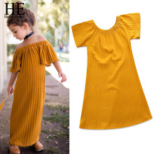 HE Hello Enjoy Kids Dresses For Girls Yellow Off Shoulder Solid Princess  Dress Baby Girl Summer Clothes Girl Dress Wedding Party 0a9e7ddf92b5