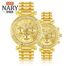 NARY Marca de Lujo Hombre Casual Reloj de Cuarzo de la Mujer reloj de Oro las mujeres de acero lleno relojes Masculinos y Femeninos de Oro Reloj de Las Mujeres 1003
