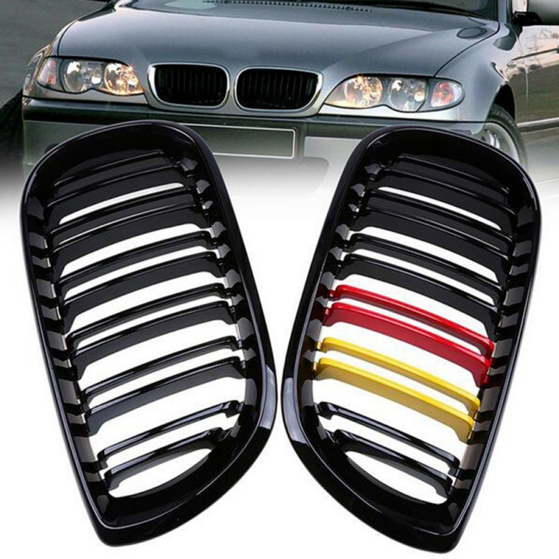 1 Pair For 2002 2005 E46 4D LCI Facelift Gloss Black Pair Front Kidney Grille Grill