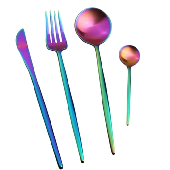 KuBac 24PCS Rainbow Silverware New Arrival Stainless Steel Cutlery Set Dinnerware Set Colorful Creative Dinner Set Christmas