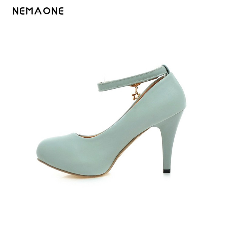 NEMAONE High Heels(9cm)Sexy Women Thin Heel Pumps Ladies Round toe Platform Shoes Fashion Woman buckle Shoe black white pink cicime women s heels thin heel spikes heels solid slip on wedding fashion leisure casual party dressing high heel platform pumps