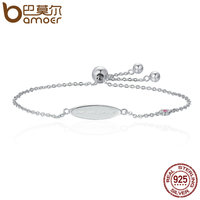 BAMOER Genuine 100 925 Sterling Silver Love You Forever Letter Women Chain Bracelets Luxury Authentic Silver