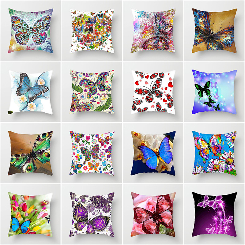 Fuwatacchi Cute Butterfly Cushion Covers Animal Flower Pillow Cover For Sofa Chair Home Decoration Soft Pillowcases 45*45cm