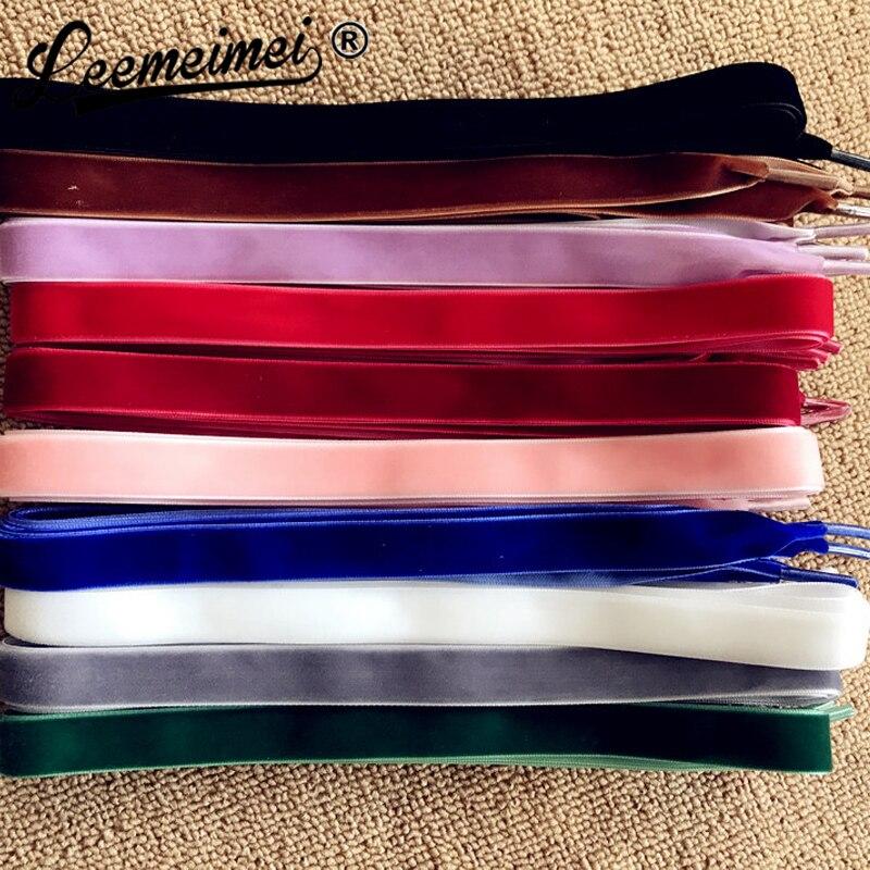 купить 1.6CM Wide 10 pairs velvet Shoelace black white red blue color suede lace women's leather shoes laces 120CM по цене 1422.51 рублей