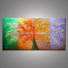 Oil painting On Canvas Wall Pictures Paintings For Living Room Wall multi Panel Canvas Wall Art Palette Knife Hand Painted Tree